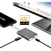 USB Type C to HDMI Adapter for Nintendo Switch,Samsung Galaxy S8/S8 Plus/Note 8 and MacBook Pro,Wofalodata HDMI & USB 3.0 & Power Delivery Portable Multifunctional Hub Converter