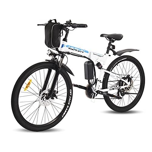 VARUN Faltbares E-Bike 26 Zoll Faltbar E-Klapprad 250W Motor 36V 8Ah(288Wh) Lithium-Ionen-Batterie Elektrofahrrad Mountainbike mit Shimano 21-Gänge Klappbar Pedelec für Damen und Herren (Weiß)