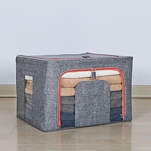CNYG Cesta de almacenamiento de tela grande, plegable, cesta de almacenamiento lavable, caja de almacenamiento de ropa para el hogar, caja de almacenamiento de artículos de color gris 50 x 40 x 33 cm