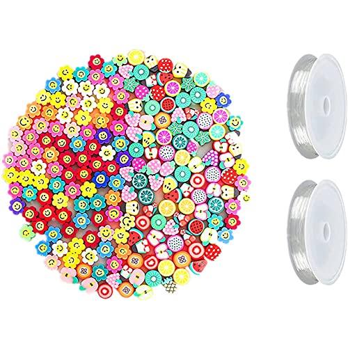 NXLWXN Perlas de Colores, Perlas para Manualidades, Perlas para Pulseras, Perlas para Collares, 400 Cuentas de Pelo y cordón elástico de 16 m, Regalos