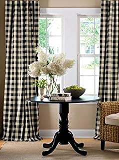 lovemyfabric Gingham/Checkered 100% Polyester Curtain Window Treatment/Decor Panel-Black and White (1, 56