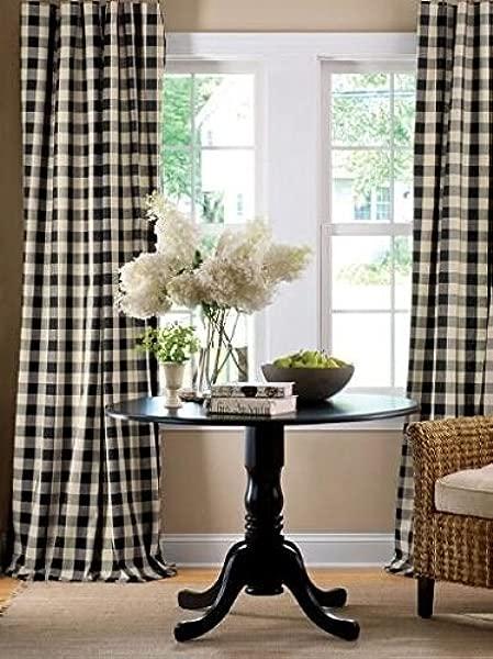 Lovemyfabric 格子 100 聚酯窗帘窗户处理装饰面板黑色和白色 2 56X84