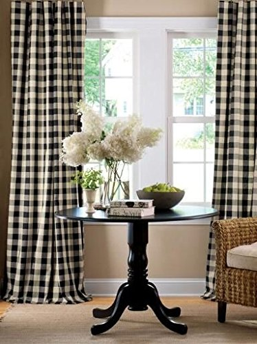 """lovemyfabric Gingham/Checkered 100% Polyester Curtain Window Treatment/Decor Panel-Black and White (2, 56""""X84"""")"""