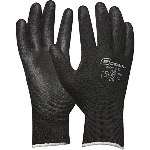 Werkhandschoen MICRO FLEX | zwart | fijn gebreid met PU-coating | 1 paar Medium