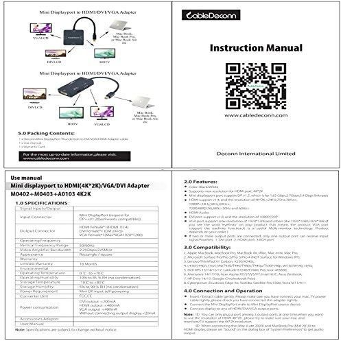 CableDeconn Mini-DisplayPort (Thunderbolt-Port-kompatibel) auf HDMI DVI VGA Kabel-Adapter, Stecker auf Buchse, 3-in-1
