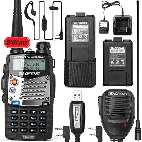 BaoFeng UV-5RM 8-Watt Ham Radio Walkie Talkie UHF VHF Dual Band 2-Way Radio with an Extra 3800mAh Battery Handheld Walkie Talkies with Baofeng Hand Mic and Programming Cable