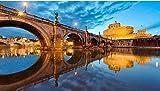 PTWJ Rompecabezas de 1000 Piezas de Rompecabezas de Madera Adultos Adultos Juguete Rompecabezas Roma Puente de San Angelo Ciudad del Vaticano Paisaje Rompecabezas DIYArt