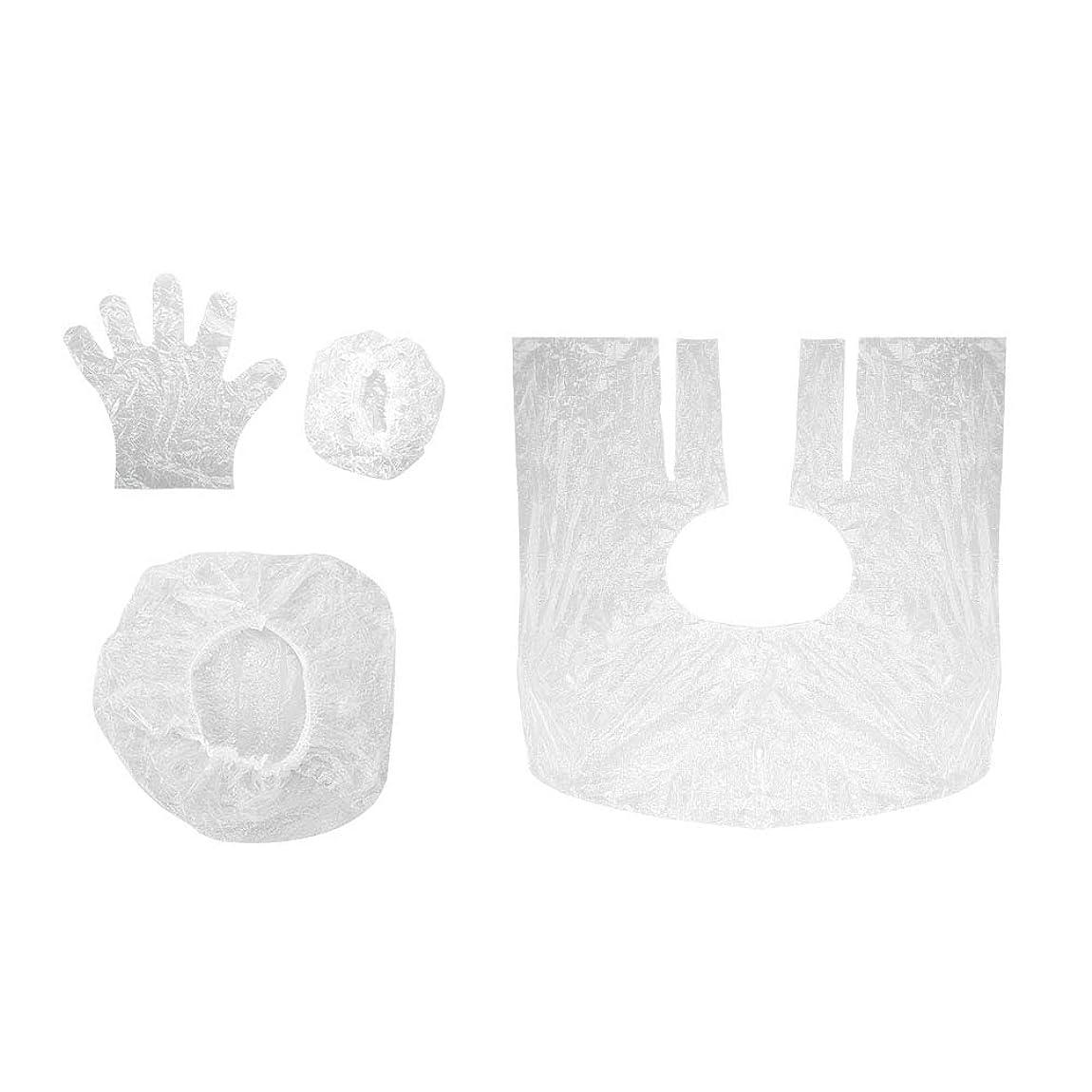 変動する塩オート毛染めツール 使い捨て ショールイヤーマフ手袋シャワーキャップ10セットサロン シャワーキャップ耳カバー手袋 美容用品