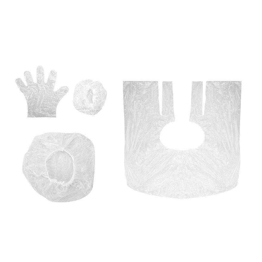 次埋め込む嵐毛染めツール 使い捨て ショールイヤーマフ手袋シャワーキャップ10セットサロン シャワーキャップ耳カバー手袋 美容用品