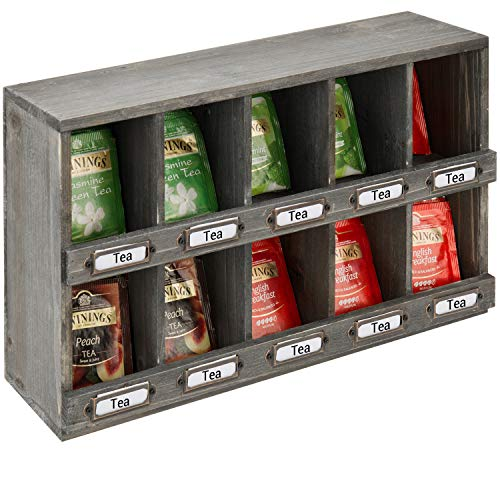 MyGift Aufbewahrungsbox für Teebeutel, aus wiederverwertetem Holz, mit Vintage-Display-Etikettenhalter