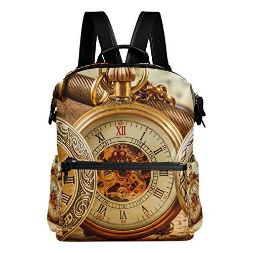 Mochila Mochila Arte Antiguo Reloj mecánico Guardería de Viaje Escuela para niñas Adolescentes Varones