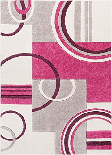 """Well Woven Echo Shapes Circles Fuchsia Modern Geometric Hand Carved 8x11 (7'10"""" x 9'10"""") Area Rug Easy to Clean Stain Fade Resistant Thick Soft Plush"""