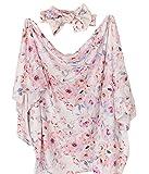 Gav n Gia Newborn Baby Swaddle Receiving Blanket and Bow Headband Set - Large Silky Soft Pink Floral Baby Girl Infant Toddler Blanket (Floral Fantasy)