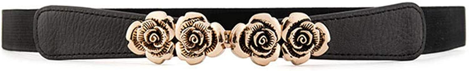 Practical wearable and durable ladies gold pink flower fashion simple leather thin belt 7095cm black