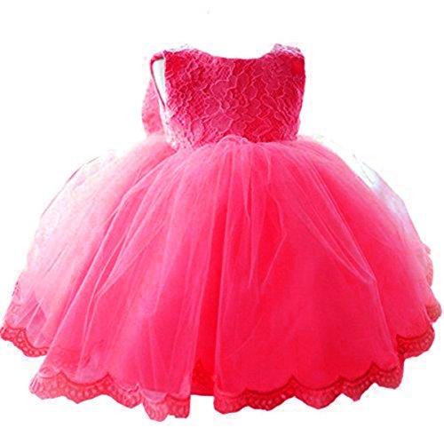 Kleinkinder Baby Mädchen Kleid IHRKleid® Blumenspitze Prinzessin Kleid Hochzeit Partykleid Taufkleid Tüll Festzug (80, 9-16 Monate, Hot pink)