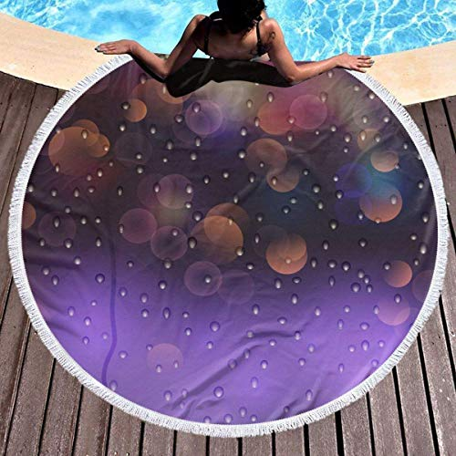 Objeto realista Imagen vectorial Toalla de playa redonda Manta Microfibra Terry Yoga Mat Toalla Soft Beach Roundie Circle 59 pulgadas Alfombra de picnic