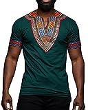 Makkrom Mens African Dashiki T Shirt Tribal Floral Print V Neck Slim Fit Shirts Tops