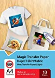 Hierro sobre papel de transferencia para tela claras, blancas y transparente (Magic Paper) de Raimarket | 10 hojas | Transferencia de hierro A4 para inyección de tinta en papel / camisetas