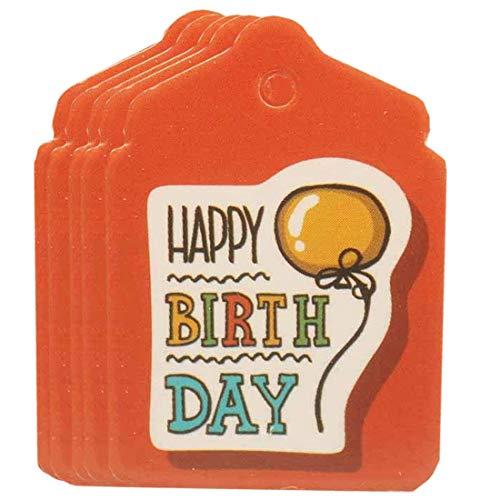 (I) 3.3cmx2.4cm 穴開きハッピーバースデーカード台紙 5枚セット (カラー)04.オレンジ ペーパータグ 紙 POP 値札 穴あき アクセサリー台紙 ラッピング用 プレゼント メッセージカード