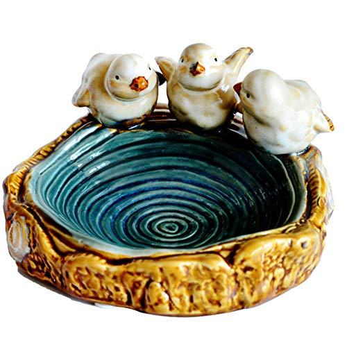 J.Mmiyi Cenicero Ceramica Exterior Interior, Hecho A Mano Cute Little Bird Cenicero para El Hogar Decoración Cumpleaños Navidad Regalo De Inauguración De La Casa,Azul