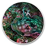 Impresionantes pegatinas de vinilo (juego de 2) 7,5 cm – Negro Mantaray Underater Coral Reef Ray Divertidos calcomanías para portátiles, tabletas, equipaje, reserva de chatarras, frigoríficos, regalo fresco #44318