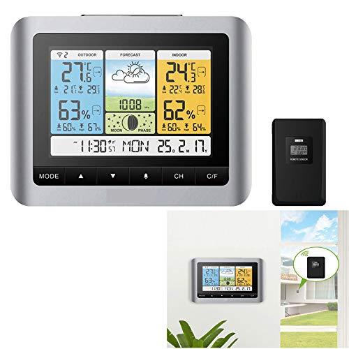 LED Color-scherm digitale weerstation, luchtdruk/Moon Phase/Kalender/Alarm binnen- en buitentemperatuur hygrometer