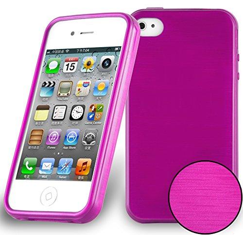 Cadorabo Hülle für Apple iPhone 4 / iPhone 4S - Hülle in PINK – Handyhülle aus TPU Silikon in gebürsteter Edelstahloptik (Brushed) Silikonhülle Schutzhülle Soft Back Cover Case Bumper
