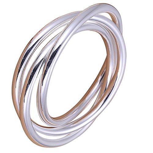 perla pd design Armreif mit 3 geschlossenen Ringen, 925 Sterling Silber pl.
