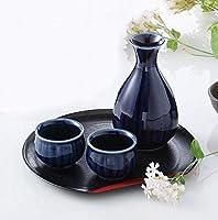 酒器 茄子紺菊型酒器揃 v54-53 ギフト ぐい呑 徳利 美濃焼 杯 ※ コレクション