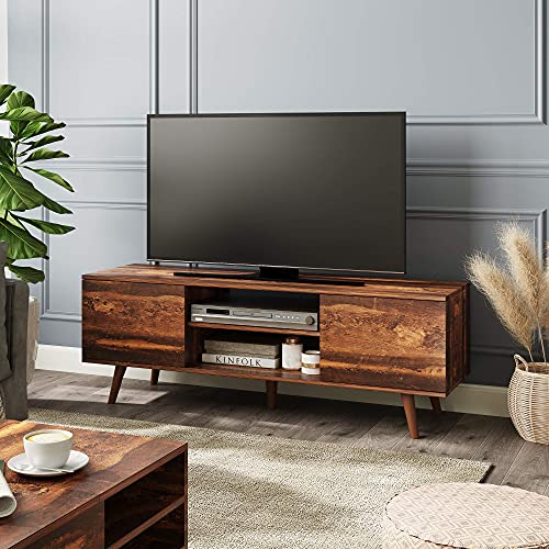WLIVE Mid-Century Modern TV Stand for 55/60 inch TV, Media Console, Entertainment Center with Storage Cabinet for Living Room, Rustic Brown
