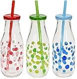 BigBuy Cooking Trinkflasche mit Deckel und Trinkhalm Waggon Trend, Unisex, Erwachsene, Mehrfarbig, Einheitsgröße