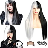fani 22 inch Half Black Half White Wig with Bangs Long Straight Wigs Women Middle Part Wig Synthetic Hair Wigs for Halloween Cosplay Makeup Party Replacement Hair