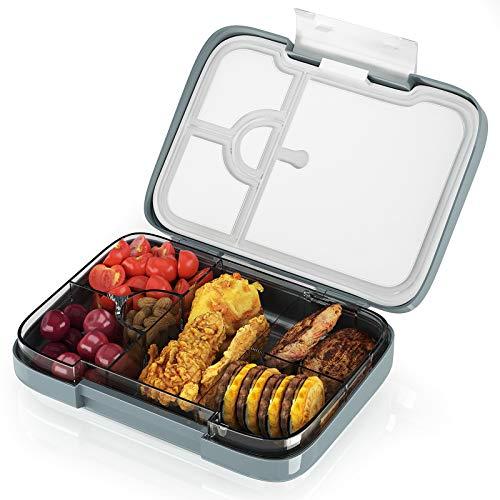 FINEW Hochwertig Bento Box Kinder, Lunchbox Mit Fächern, Luftdichte Auslaufsicher Brotzeitbox, Abnehmbares Vesperdose - Mit 4+2 Fächern, Brotdose für Kindergarten und Schule - BPA Frei
