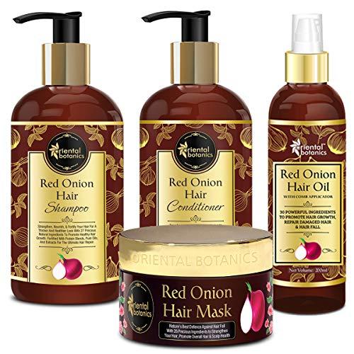 Oriental Botanics Red Onion Hair Shampoo 300ml + Conditioner 300ml + Hair Oil 200ml + Hair Mask 200ml