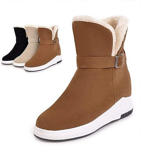 ZHRUI Stiefel para damen - Stiefel de Invierno para la Nieve cálidas Antideslizantes Parte Inferior Gruesa Mayor Tubo Corto Impermeables Stiefel de algodón   34-43 (Farbe   braun, tamaño   37)