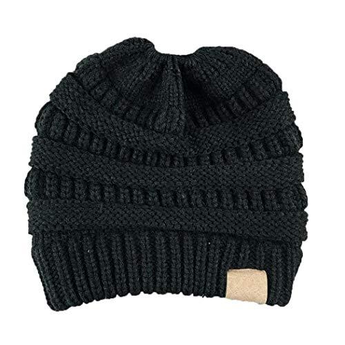 GuGio Women's Ponytail Messy Bun Knite Beanie Winter Warm Stretch Hat Skull Cap