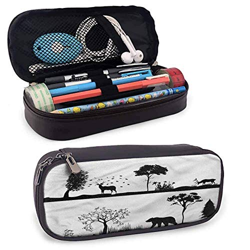 XCNGG Cabin Pen Case Cosmetic Makeup Bag, Landscape Wildlife Theme for Student Office College Middle School High School 8'x3.5'x1.5'
