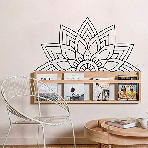 wZUN Half Mandala Vinyl Wall Decal Bedroom Bedside Decal Yoga Studio Mandala Decal Decoration 84X42cm