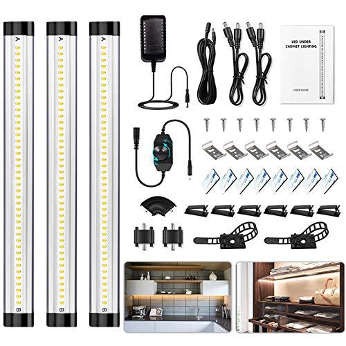 Barra Luce LED Sottopensile Cucina - Dimmerabile Luci Sotto Pensili Cucina con Dimmer Interruttore On Off Lampada Armadio Collegabili per Sottopiano Vetrina Sotto il Mobile Guardaroba Illuminazione