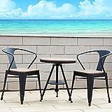 smzzz Gartentisch Stühle/Bistro-Tisch, rund,mit 2 Stühlen - Französische Gartenmöbel im Antik-Look für Balkon/Terrasse - Bistro-Set wetterbeständig, Gusseisen-Metall als Gartendeko
