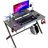 MOTPK Gaming Desk 40' with Monitor Shelf Gaming Table Home Computer Desk with Cup Holder and Headphone Hook Gamer Workstation Game Table (40' W x 29'' D), Black