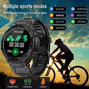 EIGIIS Smart Watch, Reloj Deportivo Digital Impermeable Estilo Militar táctico Alarma/Cronómetro Pulsera Actividad Inteligente con Pulsómetro, Monitoreo del Sueño, Rastreador de Fitness (Negro)