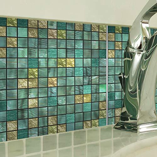 Estilo mosaico metálico verde Pegatinas Para Azulejos Pelar Y Pegar Azulejos De Pared Salpicaduras Autoadhesivas CalcomaníAs De Vinilo Para Azulejos Pegatinas Para Azulejos Pared Diy Para Cocina Sala