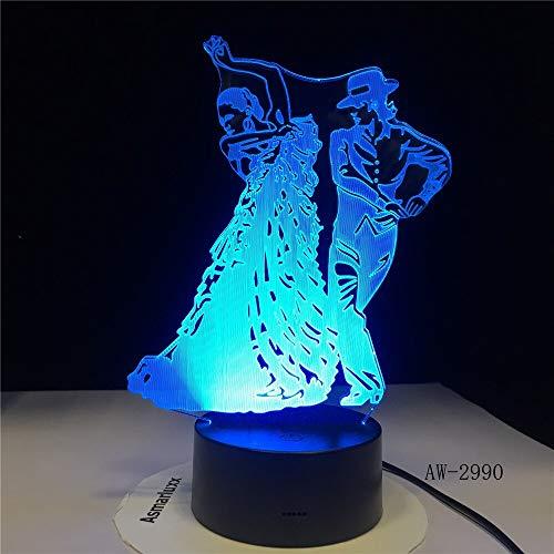 Jiushixw 3D acryl nachtlampje met afstandsbediening van kleur veranderende lamp Kran dans rok slaapkamer baby goed zicht baby meisjes installeren fiets kinderen cadeau vintage roze tafellamp uil