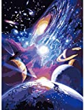 DIY Pintura al óleo digital Impresión en lienzo Pintado a mano Acrílico Pintura al óleo Artista abstracto Decoración del hogar Regalo único Sistema solar Estrella -40x50cm (con marco)