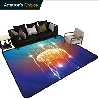 Fantasy Bordered Area Rugs, Stream of Binary Digits Leaking from Abstract Brain Mental Creativity Theme Print Durable Carpet Area rug - Living Dinning Room Bedroom Rugs and Carpets, (8'x 10')