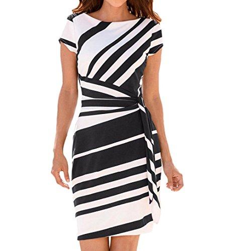 TWIFER Damen Business Kleider Bleistift Streifen Arbeiten Midi Kleider (Schwarz, S)