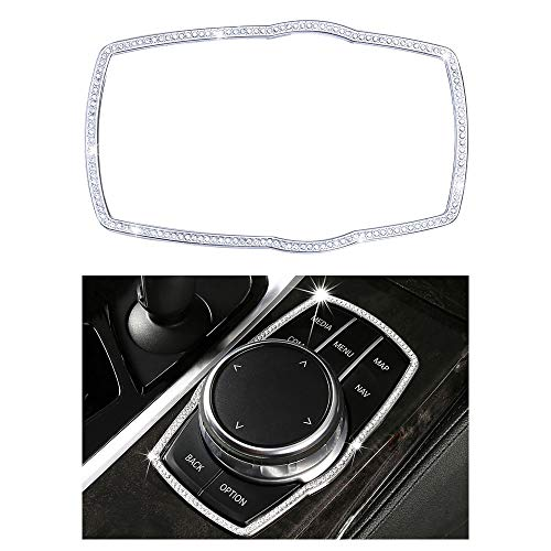 1797 Compatible Molding Trim Caps for BMW Accessories Parts iDrive Multimedia Knob Covers Decal Bling Interior Decorations 5 6GT 7 Series X3 X4 M5 G30 G32 G11 G01 G02 F90 AWD Women Men Crystal Silver