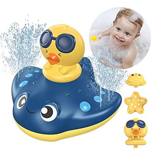 LORDSON Baby Bath Toys, Automatic Spray Water Bathtub Pool Bathroom Toy with 3 Cartoon Spray Head for Toddlers Kids Boys Girls