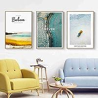 北欧の雲礁パイナップル壁アートキャンバスポスターとプリントキャンバス絵画海景リビングルームの壁画の装飾的な写真50X70cmフレームなしx3